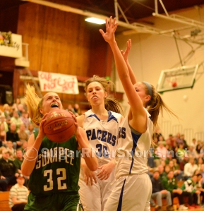 Sunapee freshman Katie Frederick goes up strong March 8 against Hinsdale.